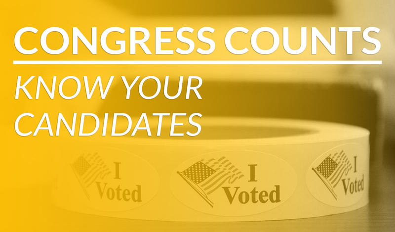 A yellow overlay over a roll of I Voted stickers with American flags and the words: Congress Counts Know Your Candidates