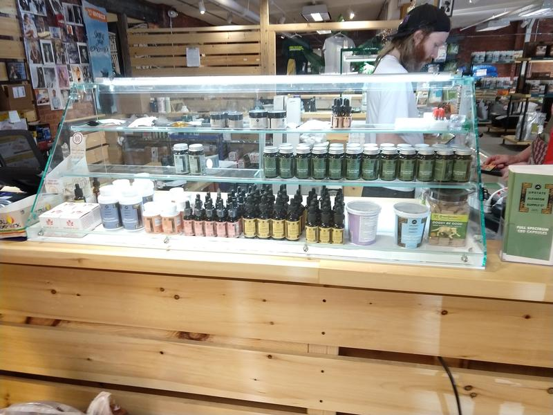 A display case with CBD products at the Green State Gardener store in Burlington.