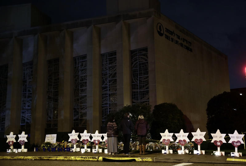 Stars of David with the names of those killed in a deadly shooting at the Tree of Life Synagogue in Pittsburgh, Sunday, Oct. 28, 2018.