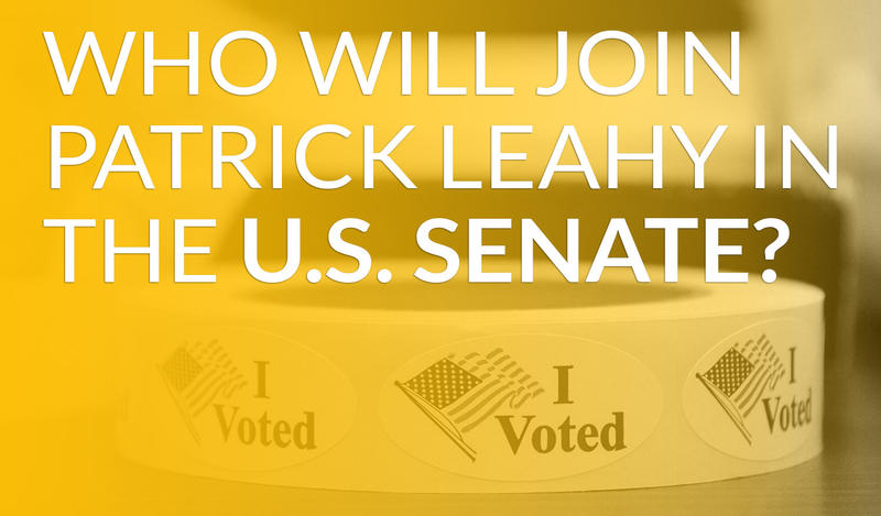 "A yellow overlay over a roll of I Voted stickers with American flags and the words ""Who Will Join Patrick Leahy In The U.S. Senate?"""