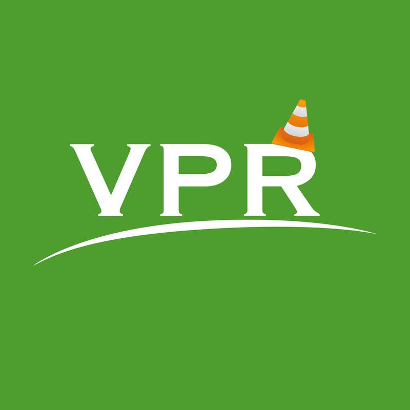VPR Logo with cute, jaunty-angled cone on top of the letter