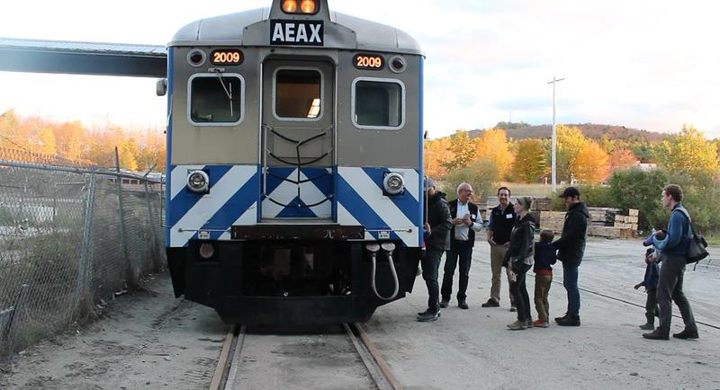 A test of AllEarth Rail's individually-powered rail cars at a demonstration in Barre.