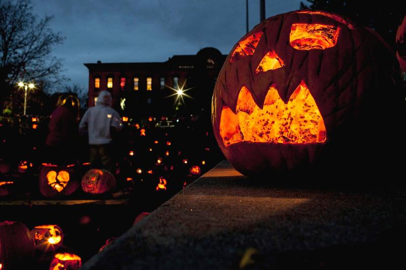 Hundreds of jack-o'-lanterns light up Winooski's Rotary Square during the 2017 Festival of Pumpkins. It's just one of many Vermont Halloween traditions.