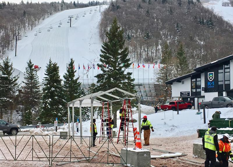 Work crews setting up infrastructure for the Women's World Cup at Killington Ski Resort.