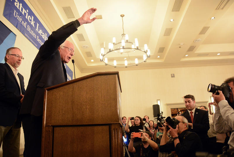 Sen. Bernie Sanders addresses those gathered at the Vermont Democratic Party's event at the Hilton in Burlington.