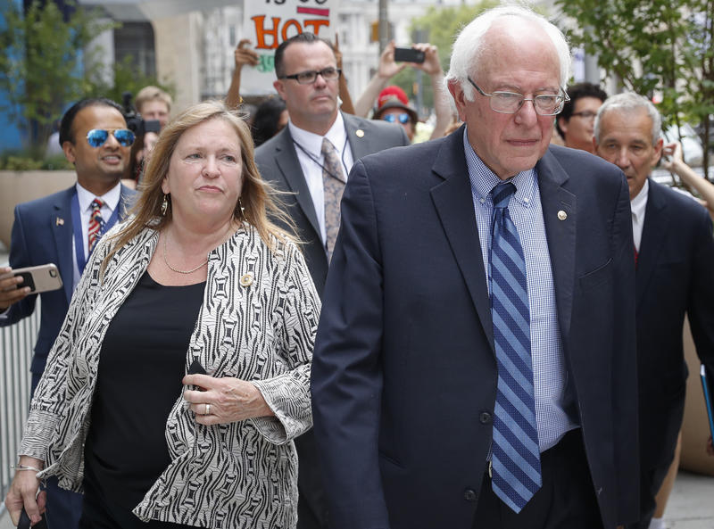 Jane and Sen. Bernie Sanders, pictured here in Philadelphia on July 28, 2016 for the Democratic National Convention.