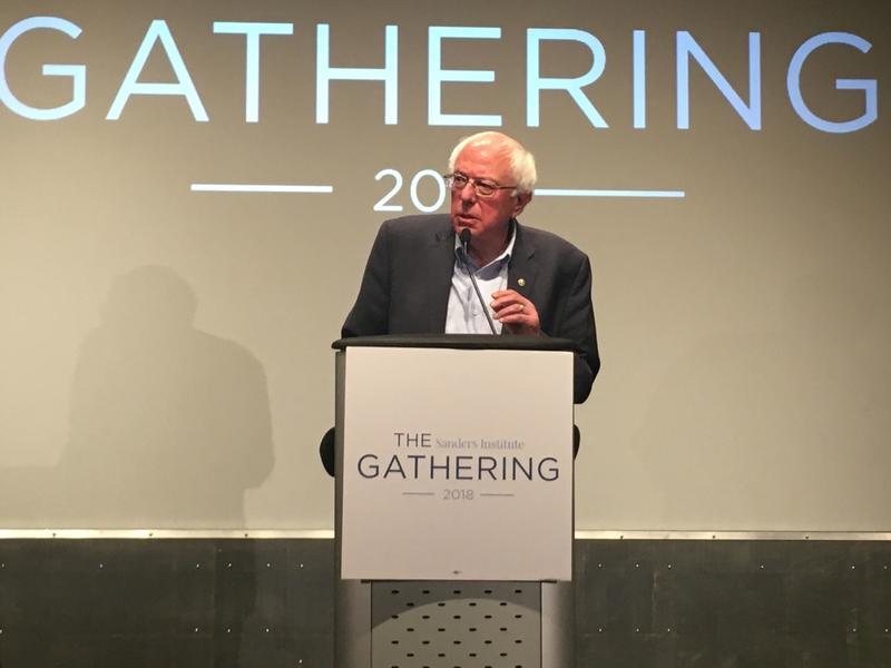 Sen. Bernie Sanders speaking at the opening night of the Sanders Institute's conference.