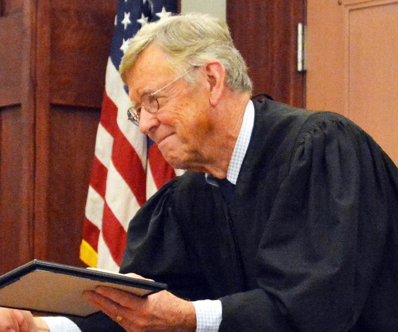 Judge Francis B. McCaffrey Jr. in a courtroom