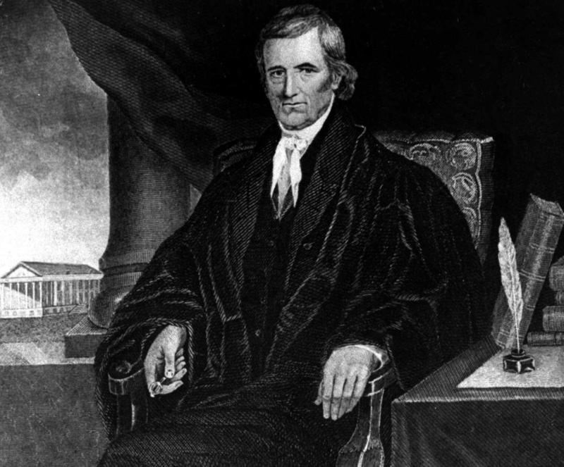 Chief Justice John Marshall headed the U.S. Supreme Court from 1801 to 1835. He was also Thomas Jefferson's cousin and judicial nemesis.