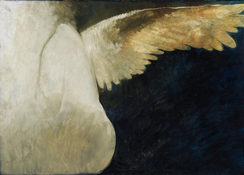 A painting against a dark backdrop of an extended wing leading back toward a person.