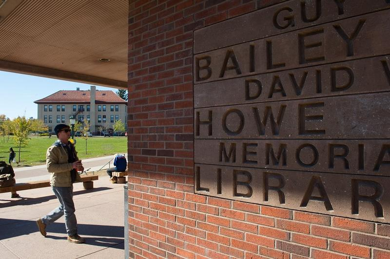 The entrance to UVM's library in April 2016 prominently features the name of Guy Bailey. Last month the university's board of trustees approved a change dropping Bailey's name.