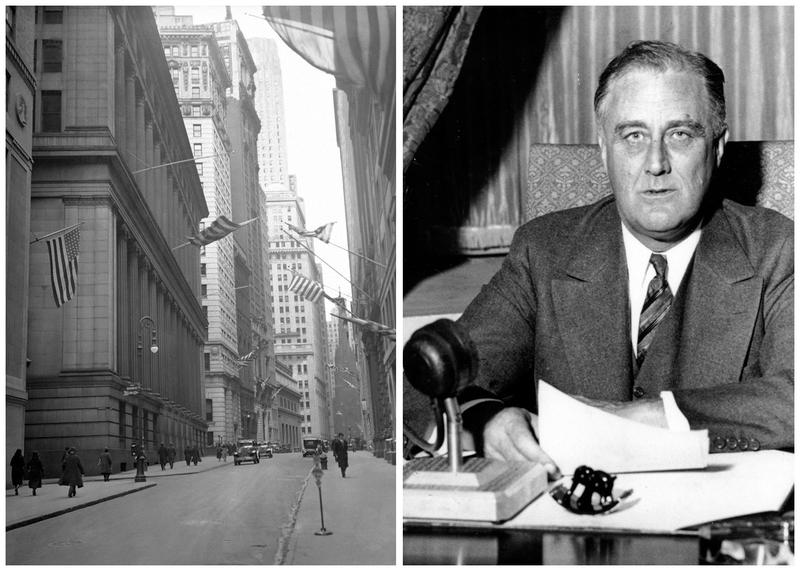 This combination of AP file photos illustrates how in 1933, FDR temporarily shut down the banks and the government passed an emergency act where the Federal Reserve essentially agreed to insure banks' deposits.