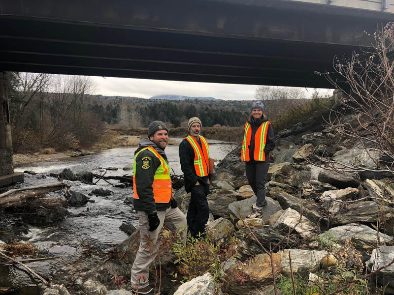 The stones under this Route 15 bridge in Wolcott can be hard for people to navigate, let alone animals with hooves. From left, Vermont Fish and Wildlife's Jens Hilke and The Nature Conservancy's Paul Marangelo and Eve Frankel are working on that problem.