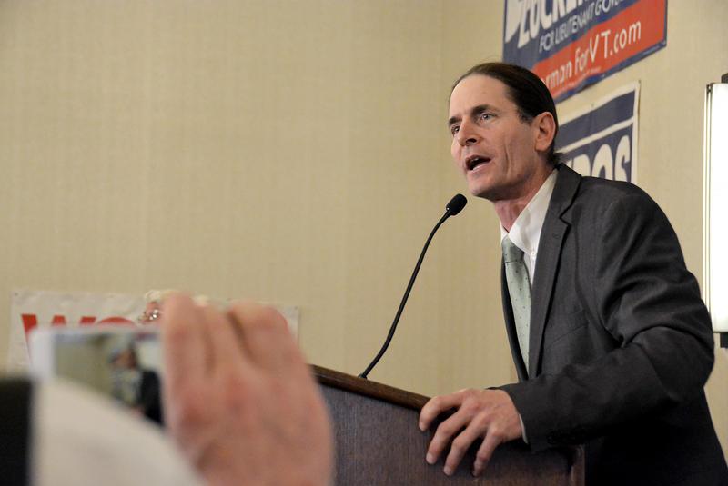 Progressive/Democratic Lt. Gov. David Zuckerman speaks at a podium at the Democrats' Election Night event at the Hilton in Burlington.