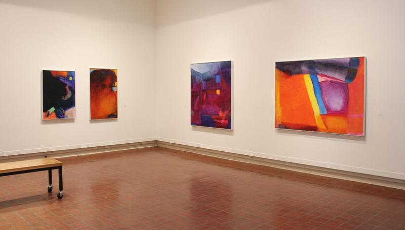 Installation view of paintings by Emily Mason, currently on display at the Brattleboro Museum & Art Center.