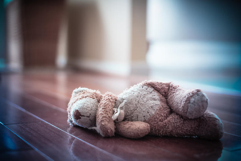 Abandoned Teddy awaits a child's return.
