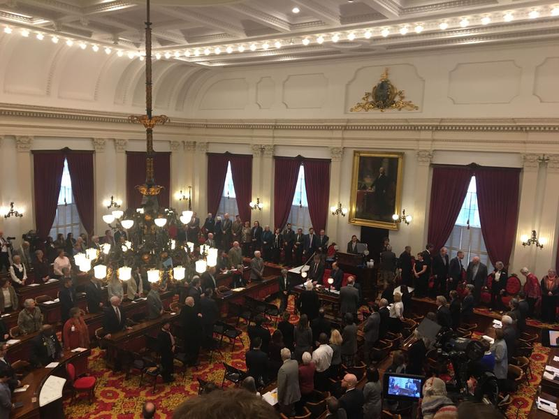 An aerial view of the House Chamber during the ceremonial proceedings of Gov. Phil Scott's inaugural address Thursday.