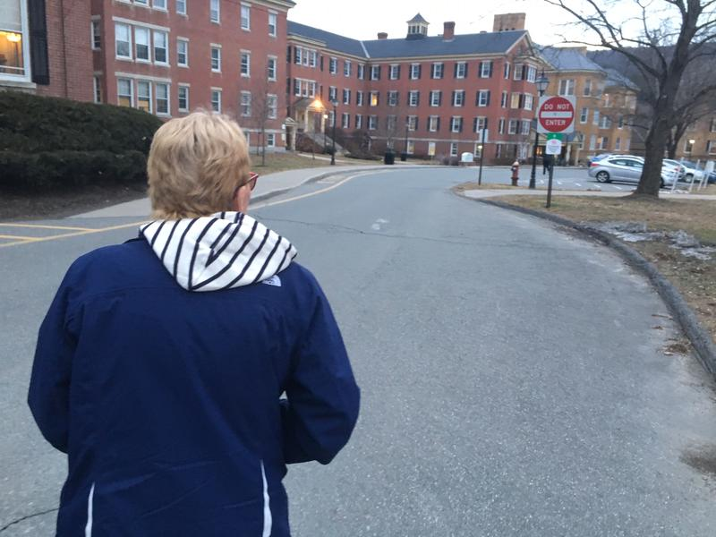 Jeannie Leavitt makes her way across the Brattleboro Retreat campus on her way to her monthly spoke program where she will receive medicine to control her substance abuse disorder.