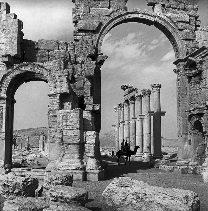 "The Monumental Arch in Palmyra, Syria in 2003, is one of the 100 photographs of pre-war Syria captured by Shaftsbury photographer Kevin Bubriski in ""Legacy In Stone."""