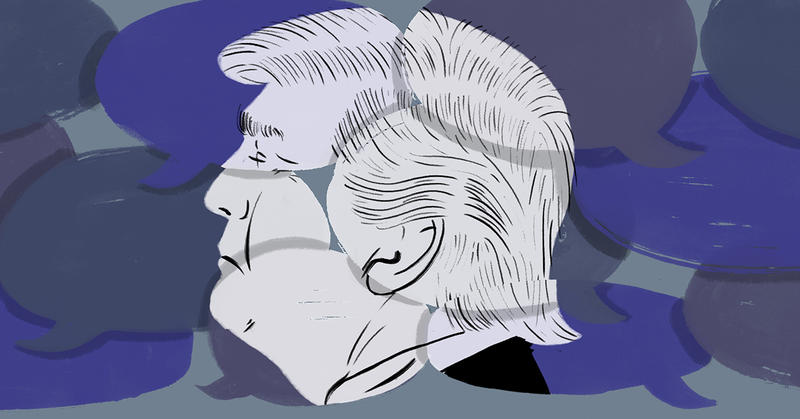 Illustration of President Donald Trump overlayed on top of multiple speech bubbles.