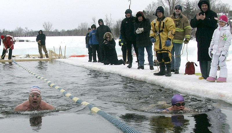 Winter Swimmers Brave The Ice In Lake Memphremagog
