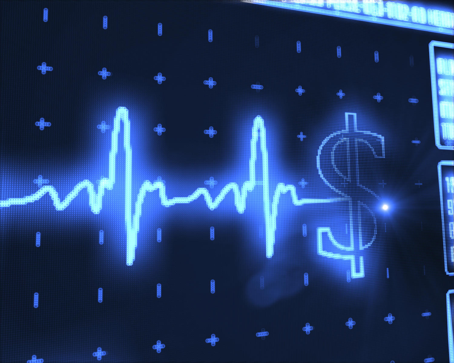 A blue hospital monitoring line that turns into a dollar symbol