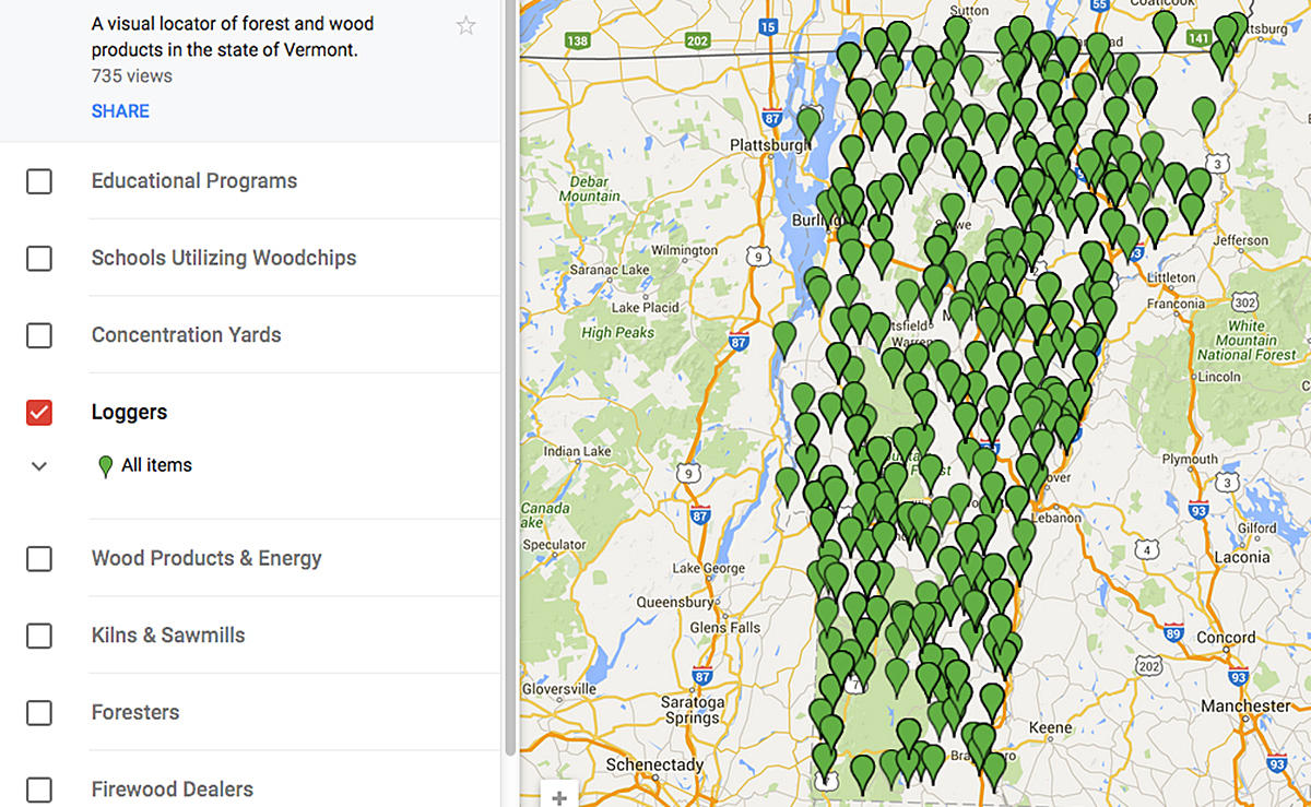 New Interactive Map Locates Vermont Forest Products And Services
