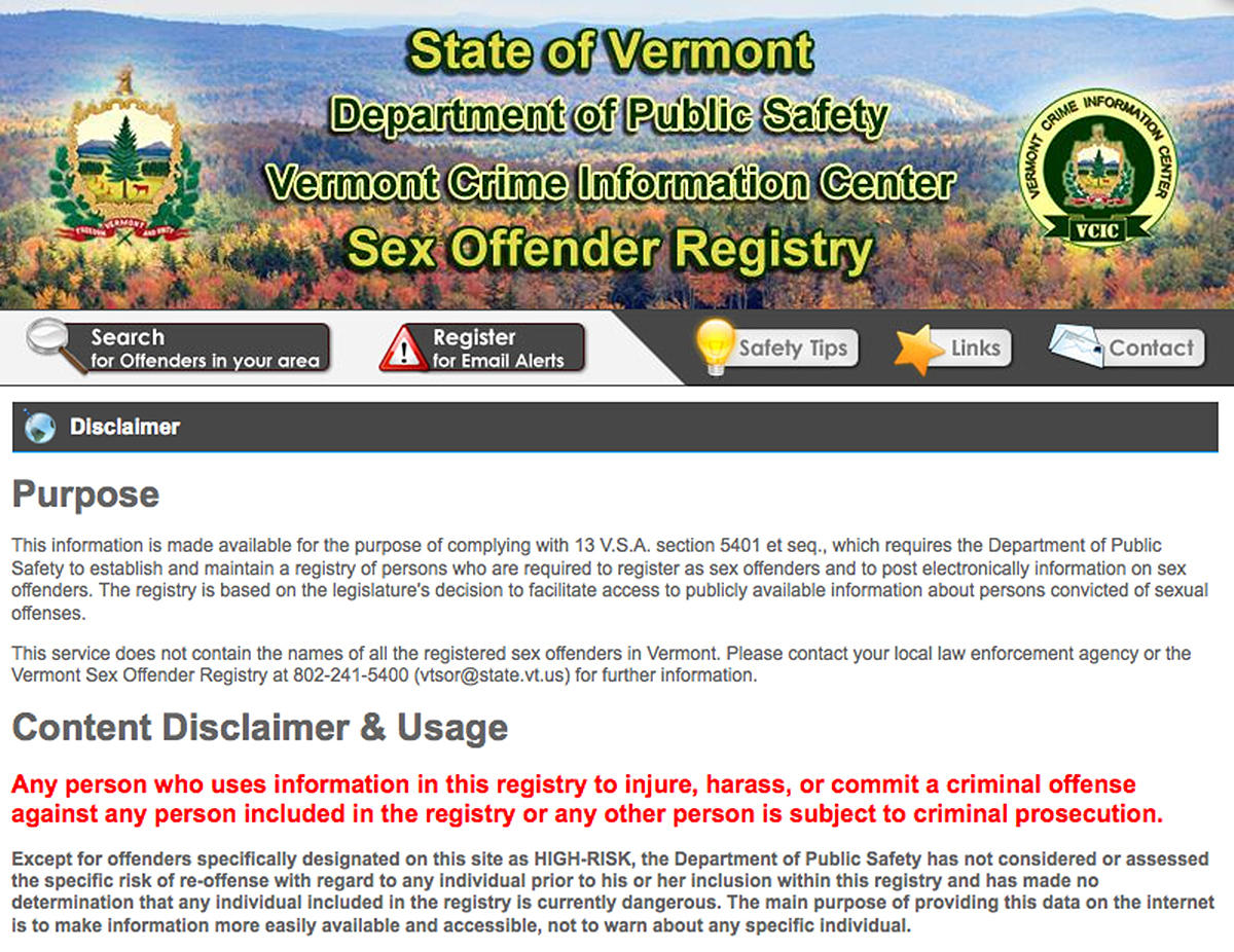 Registry and sex offender and vermont