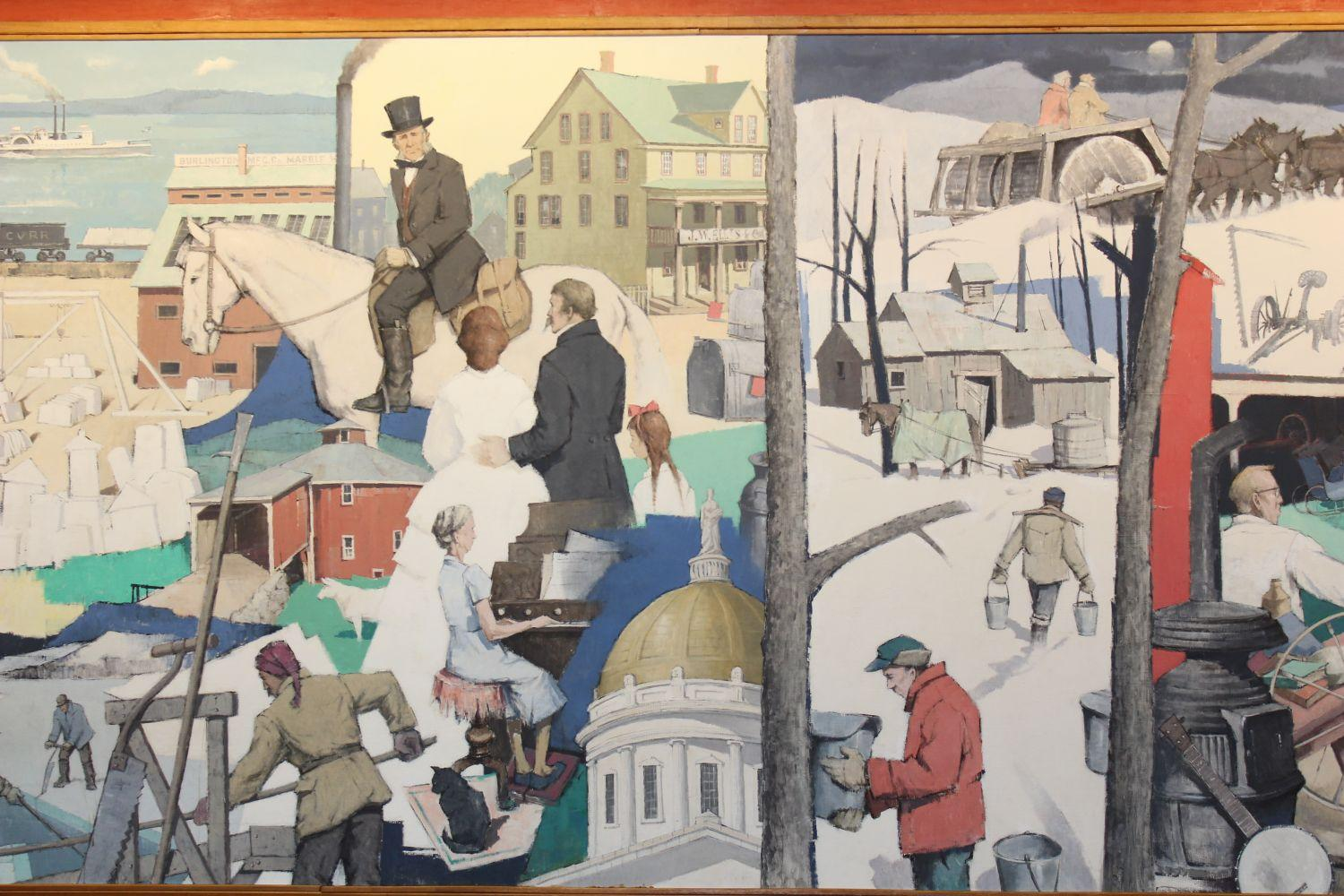 50 foot mural depicting state history donated to vermont for Mural history