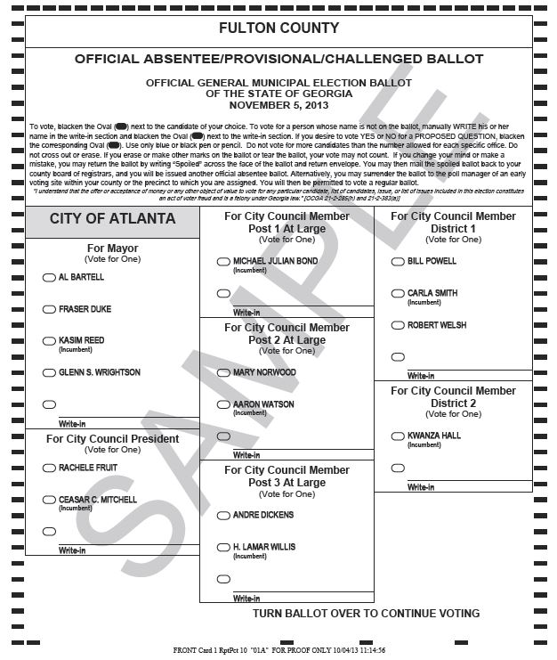 November 5 Local Election Sample Ballots | WABE 90.1 FM