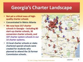 A map showing the location of Georgia's charter schools; part of a presentation by Louis Erste of the Charter Schools Division, Georgia Department of Education, May 8, 2012.