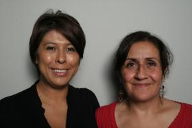 Blanca Rojas and her friend Adelina Nicholls at StoryCorps Atlanta