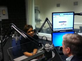 Georgia School Boards Association president Valarie Edwards talks with WABE's Denis O'Hayer on November 1, 2012, at the WABE studios.