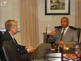 Keith Parker, MARTA's new CEO and General Manager, makes a point in a conversation with WABE's Denis O'Hayer at MARTA's headquarters on December 13, 2012