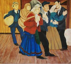 A panel from Andrew Sabori's reproduction of a mural by Edward Laning that hung in a quarantined Ellis Island cafeteria