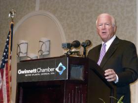Sen. Chambliss speaks to the Gwinnett Chamber of Commerce on August 22, 2012.