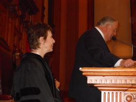 Georgia Supreme Court Chief Justice Carol Hunstein listens as House Speaker David Ralston (R-Blue Ridge) introduces her for her annual State of the Judiciary speech to a joint session of the Legislature on February 7, 2013.