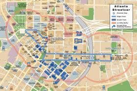 The streetcar path spans from Centennial Olympic Park through the Sweet Auburn district to the Martin Luther King Jr. memorial site.