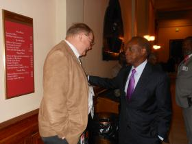 Interim DeKalb County School Superintendent Michael Thurmond chats with Atlanta Journal-Constitution political columnist and blogger Jim Galloway, during Thurmond's visit to the State Capitol on Tuesday, February 12, 2013.