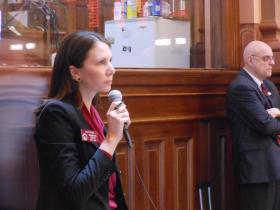 Rep. Stacey Evans speaks in support of a House bill to lower the eligibility requirements for the HOPE Grant.