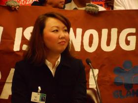 Helen Kim Ho, executive director of the Asian-American Legal Advocacy Center, at a State Senate hearing on February 14, 2013 at the State Capitol