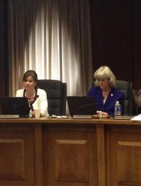 Fulton County school board vice chair Linda McCain (left) and chair Linda Schultz at this week's board meeting.