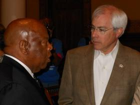 Congressman John Barrow with Congressman John Lewis at the Georgia Capitol, May 23, 2012