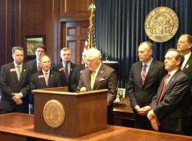 Gov. Nathan Deal (R-Georgia) speaks at a news conference in his office on May 15, 2013.  The Governor announced he had signed an executive order, saying Georgia would not accept Federal control of its school curriculum.