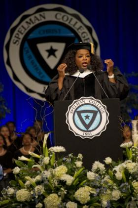 Media mogul Oprah Winfrey spoke at Spelman College in 2012.