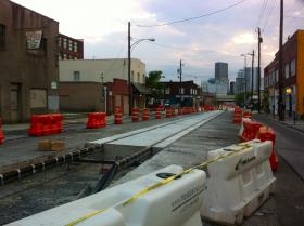 Streetcar construction continues along Edgewood Avenue in downtown Atlanta.