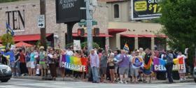 Hundreds lined the corners of the intersection of 10th and Piedmont in June, 2013, to celebrate the U.S. Supreme Court ruling that threw out key portions of the Defense of Marriage Act (DOMA).