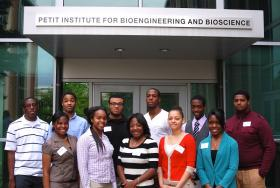 The inaugural group of ProjectENGAGE research scholars pose for a group photo on orientation day. They're about to embark on a year of intense, hands-on scientific research in a Georgia Tech laboratory.