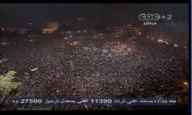 News networks, like Capital Broadcasting Center, live-stream the crowd reacting to the news that Morsi has been ousted.