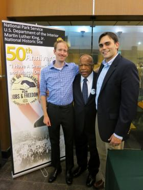 Nate Powell, John Lewis, and Andrew Aydin at the King Center